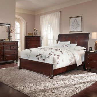 Broyhill Hayden Place 5 Piece Sleigh Bedroom Set in Dark Cherry