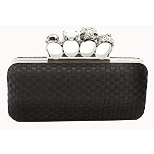 Black Skull Clutch Satin Knuckle Duster Four Ring Evening Bag