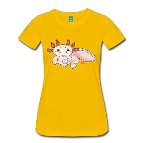 Spreadshirt Damen Axenia Axolotl T-Shirt, sonnengelb, XXL
