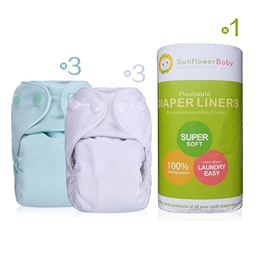 Sunflowerbaby Newborn Cloth Diaper And Diaper Liner Package, 3Pcs Blue And White