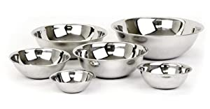 6 Piece - Mixing Bowls HEAVY WEIGHT Stainless Steel *Mirror Finish¾, 1½, 3,... by Chef Kitchen