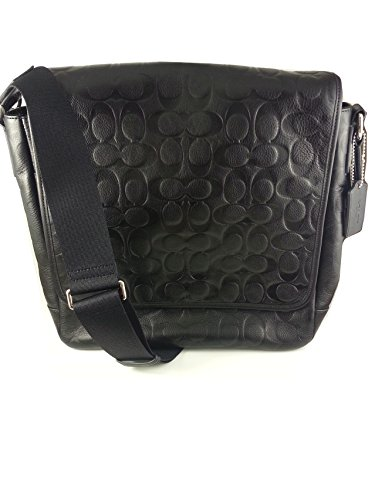 Coach Mens Heritage Web Leather Embossed C Map Messenger Travel Bag 71172 Black