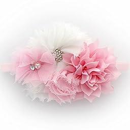My Lello Infants Shabby Fabric Flower Cluster Headband (Light Pink/White)