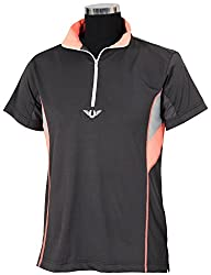 TuffRider Ladies Neon Ventilated Mock Zip Short Sleeve Polo Shirt