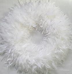 Fluffy White XL Chandelle Feather Wreath...Gorgeous Christmas Season Accent Wreath!