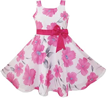 CF13 Girls Dress Pink Floral Party Wedding Boutique Kids Clothing Size 7-8