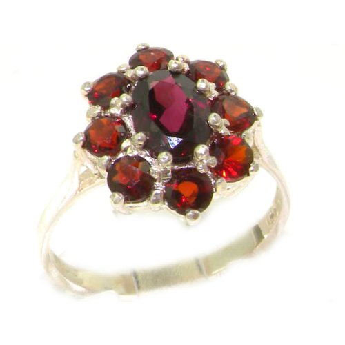 Luxury Ladies Solid Sterling Silver Natural AAA Grade Garnet Cluster Ring - Size 12 - Finger Sizes 5 to 12 Available - Suitable as an Anniversary ring, Engagement ring, Eternity ring, or Promise ring