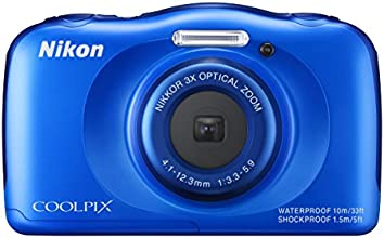 Nikon COOLPIX S33 Waterproof Digital Camera (Blue)
