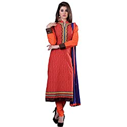 Bright Orange Coloured Embroidered Dress Material
