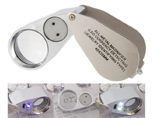 40X 25mm Magnifying Glass with LED Light (Black)