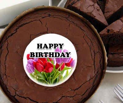 Birthday Brownie Cake - Tulips