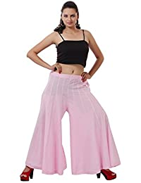 Baby Pink Plain Cotton Trendy Plazzo - B00PXS9DSY