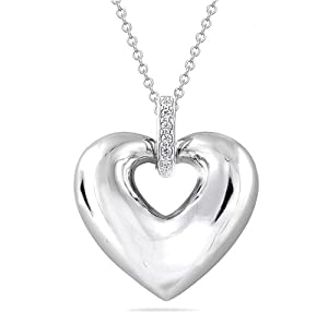 Sterling Silver Puffy Heart with Diamond Pendant Necklace (0.02 cttw, I-J Color, I2 Clarity), 18""