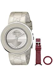 Gucci Women's YA129443 U-Play Medium Watch with Interchangeable Leather Bands and Bezel Covers