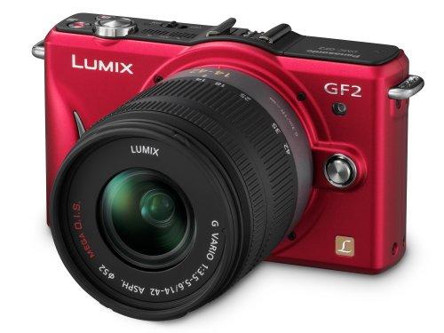 Panasonic Lumix GF2 Digital Camera with 14mm  &  14-42mm Lenses - Red