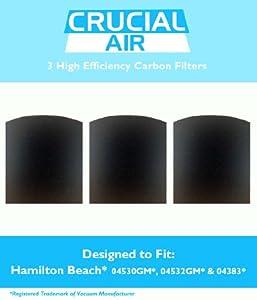 3-pack Carbon Filters for Hamilton Beach True Air Odors, Odor Eliminator, Tobacco; For Hamilton Beach Models 04530GM, 04532GM, 04383, 04531GM, 04530F, 04532GM, 04251, 04271, 04530, 04530F, HAP201, HAP201-U & 16180, Part # 04294G by Crucial Air