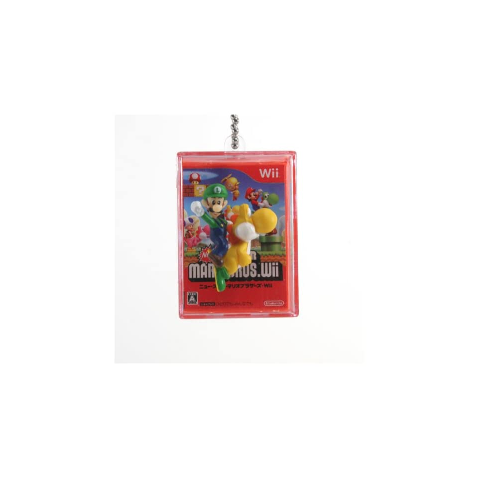 New Super Mario Bros Wii Spring Shadow Box 1.75 Keychain   Luigi on Yellow Yoshi