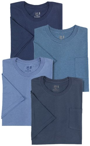 Fruit of the Loom Men's 4-Pack Pocket Crew Neck Tonal Blues T-Shirt,Tonal Blues,3X-Large