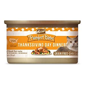 Merrick Purrfect Bistro Grain Free Thanksgiving Day Dinner Canned Cat Food, 3 oz., Case of 24