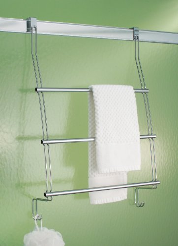interdesign classico over the door towel rack with hooks for bathroom chrome home garden. Black Bedroom Furniture Sets. Home Design Ideas