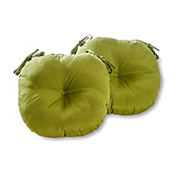 Greendale Home Fashions Round Indoor/Outdoor Bistro Chair Cushion, Summerside Green, 15-Inch, Set of 2