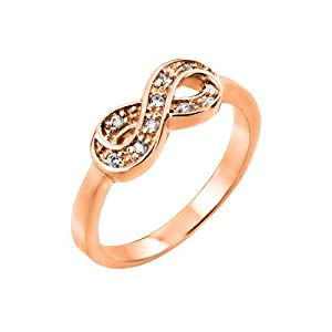 18K Pink Rose Gold Plated 925 Sterling Silver Prong Set Cubic Zirconia CZ Infinity Designer Fashion Ring (Sizes 5 to 9) - Size 9