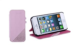TeckNet iPhone 5 Genuine Leather Case with Card Holder For New Apple iPhone 5 - Pink