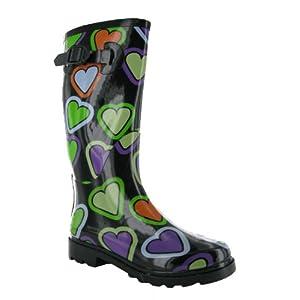 Womens Pink Love Heart Wellies Wellington Boots Sizes 3-8