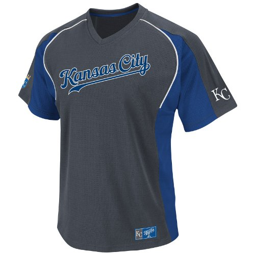MLB Kansas City Royals Cleanup Hitter V-Neck Top, Granite/Royal/White, Large