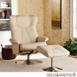 Holly & Martin Brayden Leather Recliner Chair and Ottoman in French Vanilla