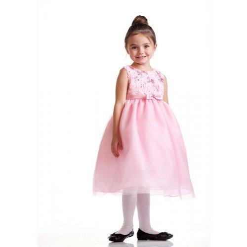 Crayonkids-Ck932-Sleeveless Floral Bodice Tea Length Dress, Pink, Size 4