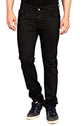Gabon Black Cotton Lycra Jeans for Men