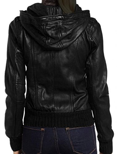 The Leather Factory Women's Lambskin Detachable Hooded Leather Bomber Jacket M Black