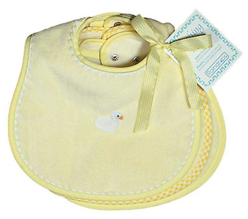 Raindrops Solid Pastel Teething Bib Set, Yellow