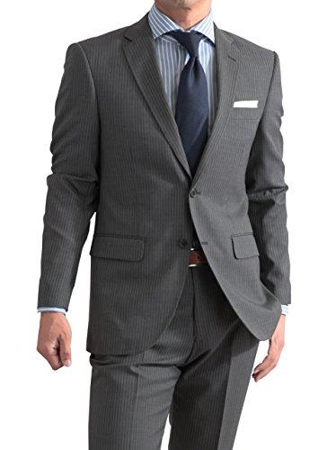 秋冬 メンズ スタンダード 2ツボタン 仕事 ビジネス スーツ グレー・ストライプ 体型:BB体 7号
