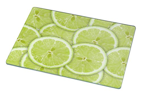 Rikki KnightTM green background with citrus-fruit of lime slices Small glass Cutting board