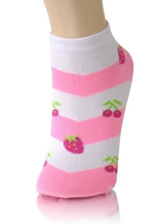 Womens Low Cut Patterned Socks - 12 Pack - Size 9 to 11 - Cherries and Strawberry