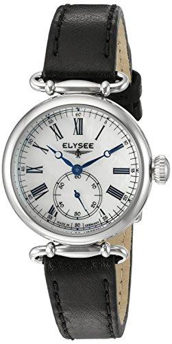 Elysee Cecilia Femme 30mm Noir Cuir Bracelet Minéral Verre Montre 38022