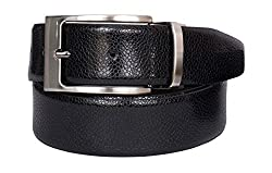 VISACH Men's Leather Belt Stone Print Pin , Black and Brown (38)