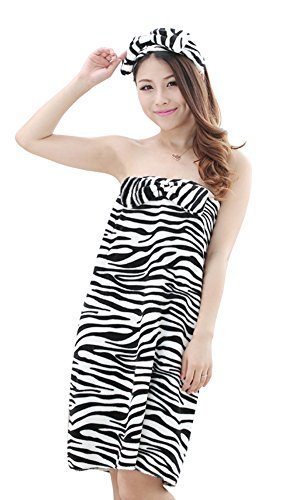 Tonwhar Womens Cute Sexy High-Slit Strapless Bathrobes Sleepwear (Zebra Pattern) front-867795