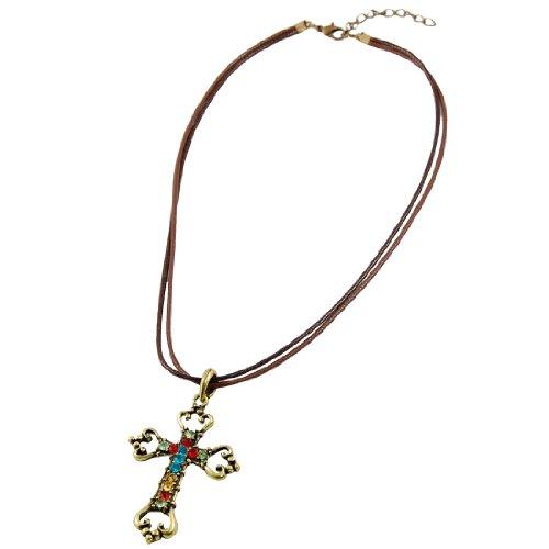 Rosallini Bronze Tone Cross Shape Engraved Pendant Nylon String Necklace