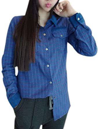 Women Point Collar Long Sleeved Snap Fastener Plaids Shirt Camisas