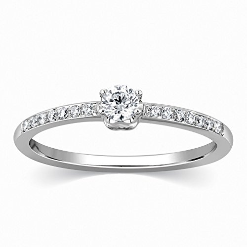 0.58 Carat Classic Wedding ring for sale with Round cut Diamond on 14K White gold