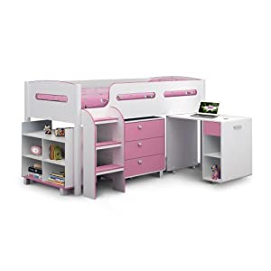 Kimbo Single Mid Sleeper Bunk Bed with Desk & Shelving Unit Colour: Pink
