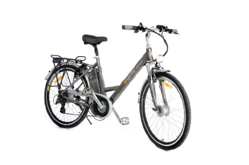 e-Moto 2.5 Velocity 37-Volt Step-Through Comfort Electric Bicycle (Silver, 26-19-Inch)