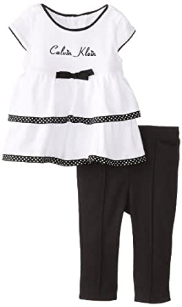 Calvin Klein Baby-Girls Newborn Tunic with Leggings, Black/White, 0-3 Months