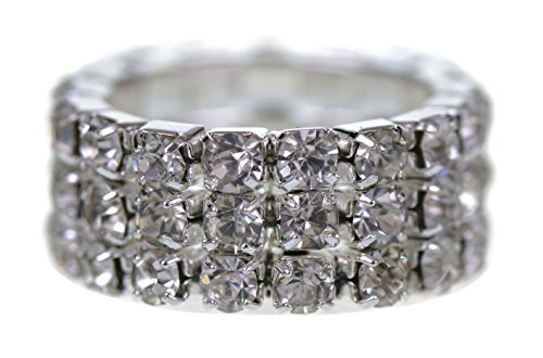 GORGEOUS 3 ROW DIAMANTE CRYSTAL STRETCH RING