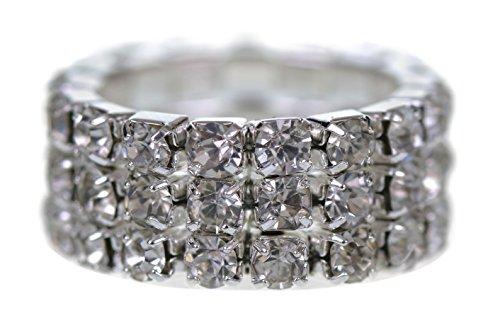 Supgod - Anello con diamanti finti e cristalli su 3 file, con elastico