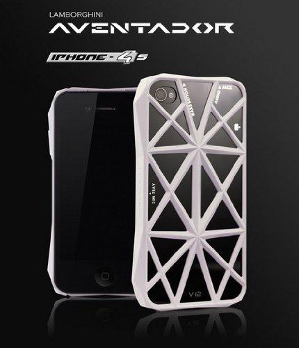【Cool shop】【iPhone 4S / 4対応 ケース】emie Lamborghini/ランボルギーニ フレーム ケース/高級スポーツカーのような美しいラインデザイン/ホワイト
