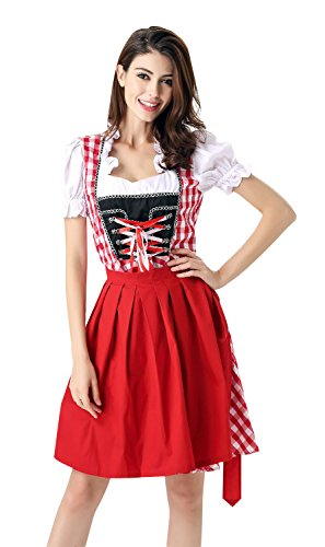 Killreal Women's German Bavarian Beer Girl Oktoberfest Costume Fancy Dress Plus Size Red X-Large (Sexy Beer Maiden Costume)